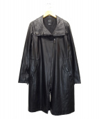 ()の古着「FAUX LEATHER FUNNELNECK COAT」|ブラック