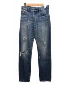 ()の古着「ダメージデニムパンツ」|インディゴ