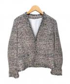 Leilian(レリアン)の古着「ノーカラージャケット」 ピンク×ネイビー