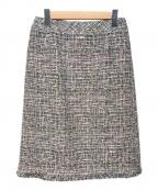 Leilian(レリアン)の古着「ツイードタイトスカート」 ピンク×ネイビー