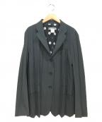 ISSEY MIYAKE WHITE LABEL(イッセイミヤケホワイトレーベル)の古着「メッシュポルカドットプリーツジャケット」 グリーン