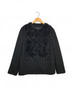 PRADA()の古着「ノーカラーデザインジャケット」|ブラック