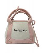BALENCIAGA(バレンシアガ)の古着「ポーチ付きトートバッグ」 ピンク×アイボリー