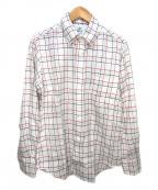 Black Fleece(ブラックフリース)の古着「リネンチェックシャツ」|ホワイト