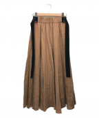 Leilian()の古着「麻ロングフレアスカート」|ブラウン