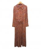 Comptoir des Cotonniers(コントワー・デ・コトニエ)の古着「ビスコースクレープガーデンプリントシャツドレス」|オレンジ
