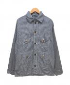POST O'ALLS(ポストオーバーオールズ)の古着「ギンガムチェックシャツジャケット」|ネイビー