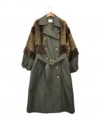 MURUA(ムルーア)の古着「ロングダブルトレンチコート」|グリーン