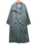 ENFOLD(エンフォルド)の古着「コットンブレンドダブルボタンロングコート」 スカイブルー