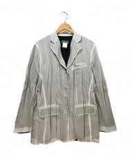 ISSEY MIYAKE (イッセイミヤケ) 3Bプリーツテーラードジャケット ライトグレー サイズ:L