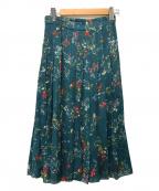 UNITED ARROWS(ユナイテッドアローズ)の古着「フラワープリントプリーツスカート」|ブルー