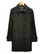 ()の古着「ウールダブルジップコート」 モスグリーン