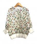 ANAYI(アナイ)の古着「ボタニカルフラワープリントギャザープルオーバー」|アイボリー