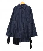RITO()の古着「袖スカーフストライプシャツ」 ネイビー