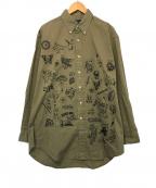 POLO RALPH LAUREN(ポロ・ラルフローレン)の古着「ペイントボタンダウンシャツ」|オリーブ