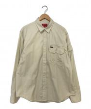 SUPREME (シュプリーム) Twill Multi Pocket Shirt ベージュ サイズ:M