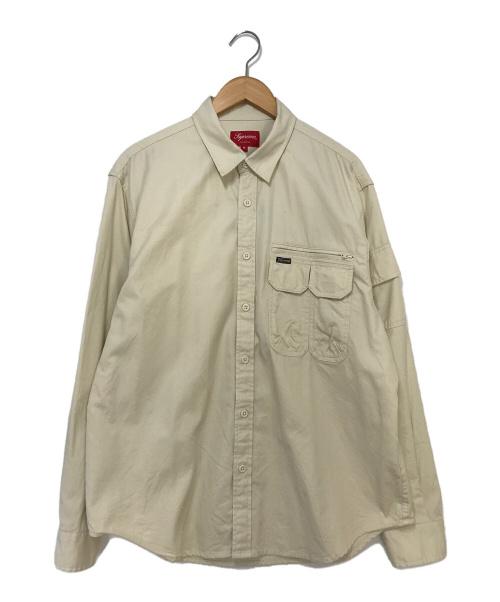 SUPREME(シュプリーム)SUPREME (シュプリーム) Twill Multi Pocket Shirt ベージュ サイズ:Mの古着・服飾アイテム