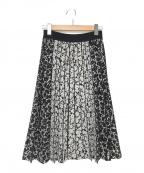 EPOCA(エポカ)の古着「カモフラージュフラワー ニットプリーツスカート」|ブラック×ホワイト