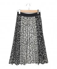 EPOCA (エポカ) カモフラージュフラワー ニットプリーツスカート ブラック×ホワイト サイズ:38
