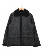 LAVENHAM(ラベンハム)の古着「キルティング襟ボアジャケット」 ブラック
