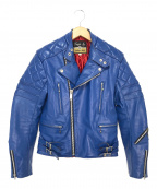 666 LEATHER WEAR()の古着「キルテットライダースジャケット」 ブルー