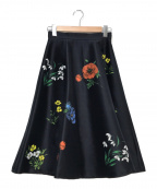 Mystrada(マイストラーダ)の古着「大花プリントスカート」|ネイビー