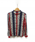 maison kitsune(メゾンキツネ)の古着「トリコロールカラーシャツ」|レッド×ネイビー
