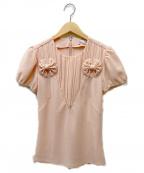 RED VALENTINO(レッドヴァレンティノ)の古着「プリーツ切替ブラウス」 ピンク