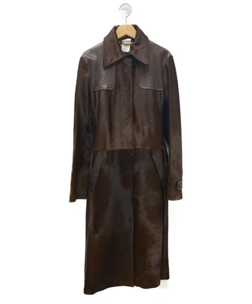 DOLCE & GABBANA(ドルチェアンドガッバーナ)DOLCE & GABBANA (ドルチェアンドガッバーナ) ハラコレザー切替コート ブラウン サイズ:S~M相当の古着・服飾アイテム