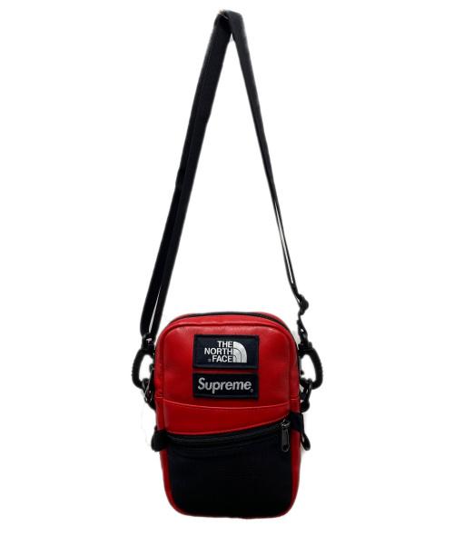 SUPREME×THE NORTH FACE(シュプリーム × ザノースフェイス)SUPREME×THE NORTH FACE (シュプリーム × ザノースフェイス) Leather Shoulder Bag レッド×ブラック 18AWの古着・服飾アイテム