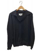 Maison Margiela(メゾンマルジェラ)の古着「スキッパーニットポロシャツ」|ネイビー