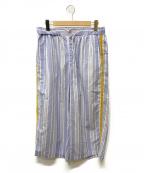 digawel(ディガウェル)の古着「サイドラインストライプワイドパンツ」|ブルー