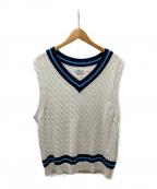 ALLEGE(アレッジ)の古着「Line knit vest」 ホワイト