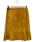 CELINE(セリーヌ)の古着「ゴートレザースカート」|ブラウン