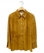 CELINE()の古着「ゴートレザーシャツ」 ブラウン