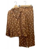 AYA KANEKO×MACPHEE(アヤ カネコ×マカフィー)の古着「パジャマシャツセットアップ」|ブラウン