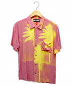 DOUBLE RAINBOUU(ダブルレインボー)の古着「パームツリー柄アロハシャツ」|ピンク