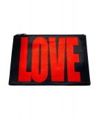 GIVENCHY(ジバンシィ)の古着「LOVEクラッチバッグ」|ブラック×レッド