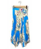 TORY BURCH(トリーバーチ)の古着「フローラルプリントプリーツスカート」|スカイブルー