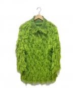 ISSEY MIYAKE me(イッセイ ミヤケ ミー)の古着「繊維プリーツカーディガン」|グリーン