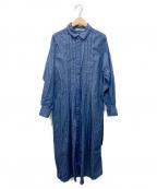 GRANDMA MAMA DAUGHTER(グランマママドーター)の古着「総柄デニムシャツワンピース」|インディゴ