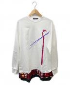 ALMOSTBLACK(オールモストブラック)の古着「LAYERED CUT SEW」|ホワイト