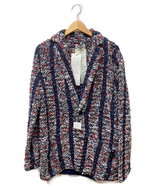 Coohem(コーヘン)Coohem (コーヘン) サマーストライプツイードテーラードジャケット ネイビー×レッド サイズ:Lの古着・服飾アイテム