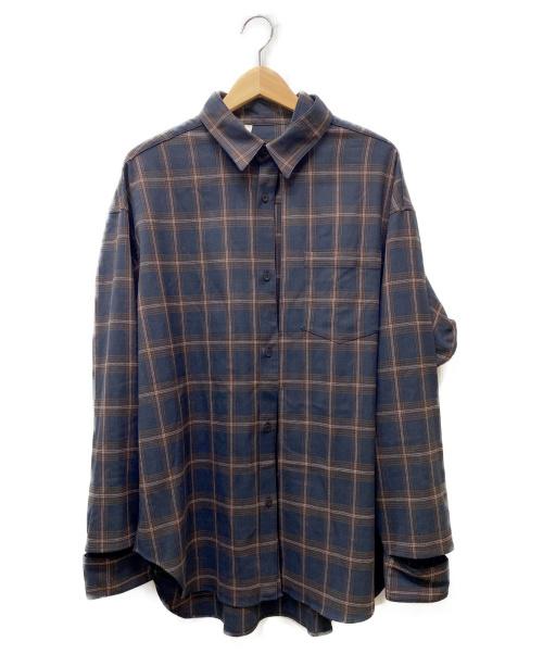 N.HOOLYWOOD(ミスターハリウッド)N.HOOLYWOOD (ミスターハリウッド) ランダムスリットシャツ ブラック×ブラウン サイズ:40 チェックの古着・服飾アイテム