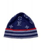 LOUIS VUITTON(ルイ ヴィトン)の古着「モノグラムニット帽」|ネイビー