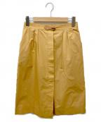 HERMES()の古着「レザーパッチスカート」 ベージュ