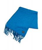 HERMES(エルメス)の古着「カシミヤロゴ刺繍マフラー」|ブルー