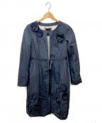 KEITA MARUYAMA(ケイタマルヤマ)の古着「フラワーモチーフノーカラーコート」 ブラック