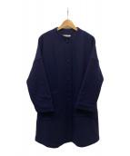 ()の古着「ノーカラーウールコート」|ネイビー