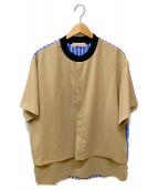 ()の古着「プルオーバーデザインシャツ」|ベージュ×ブルー